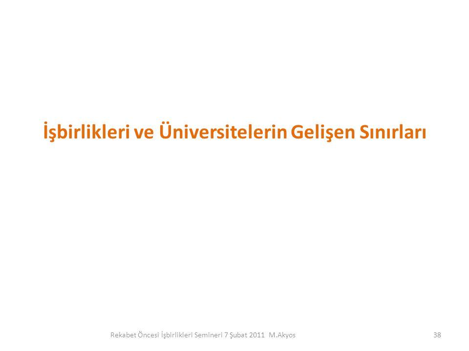 İşbirlikleri ve Üniversitelerin Gelişen Sınırları 38Rekabet Öncesi İşbirlikleri Semineri 7 Şubat 2011 M.Akyos