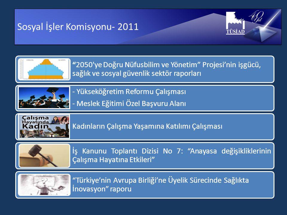 Sosyal İşler Komisyonu- 2011 2050 ye Doğru Nüfusbilim ve Yönetim Projesi'nin işgücü, sağlık ve sosyal güvenlik sektör raporları - Yükseköğretim Reformu Çalışması - Meslek Eğitimi Özel Başvuru Alanı Kadınların Çalışma Yaşamına Katılımı Çalışması İş Kanunu Toplantı Dizisi No 7: Anayasa değişikliklerinin Çalışma Hayatına Etkileri Türkiye'nin Avrupa Birliği'ne Üyelik Sürecinde Sağlıkta İnovasyon raporu