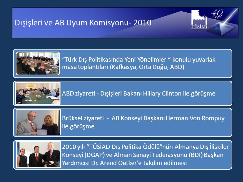 Dışişleri ve AB Uyum Komisyonu- 2010 Türk Dış Politikasında Yeni Yönelimler konulu yuvarlak masa toplantıları (Kafkasya, Orta Doğu, ABD) ABD ziyareti - Dışişleri Bakanı Hillary Clinton ile görüşme Brüksel ziyareti - AB Konseyi Başkanı Herman Von Rompuy ile görüşme 2010 yılı TÜSİAD Dış Politika Ödülü nün Almanya Dış İlişkiler Konseyi (DGAP) ve Alman Sanayi Federasyonu (BDI) Başkan Yardımcısı Dr.