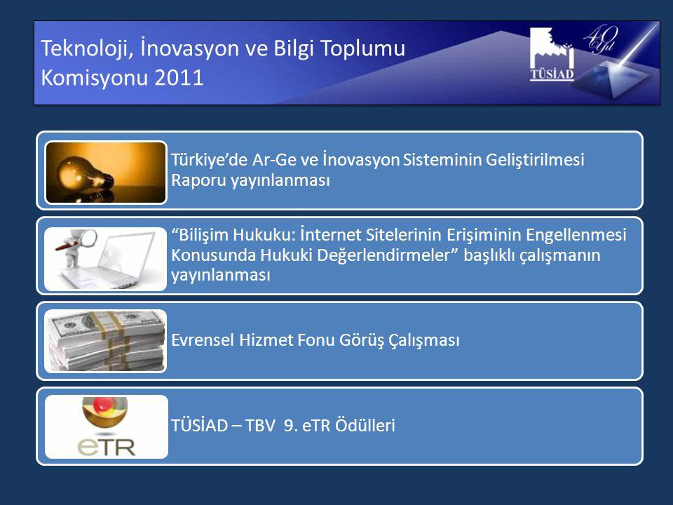 Teknoloji, İnovasyon ve Bilgi Toplumu Komisyonu 2011 Türkiye'de Ar-Ge ve İnovasyon Sisteminin Geliştirilmesi Raporu yayınlanması Bilişim Hukuku: İnternet Sitelerinin Erişiminin Engellenmesi Konusunda Hukuki Değerlendirmeler başlıklı çalışmanın yayınlanması Evrensel Hizmet Fonu Görüş Çalışması TÜSİAD – TBV 9.
