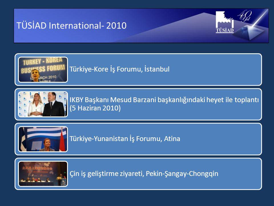 TÜSİAD International- 2010 Türkiye-Kore İş Forumu, İstanbul IKBY Başkanı Mesud Barzani başkanlığındaki heyet ile toplantı (5 Haziran 2010) Türkiye-Yunanistan İş Forumu, Atina Çin iş geliştirme ziyareti, Pekin-Şangay-Chongqin