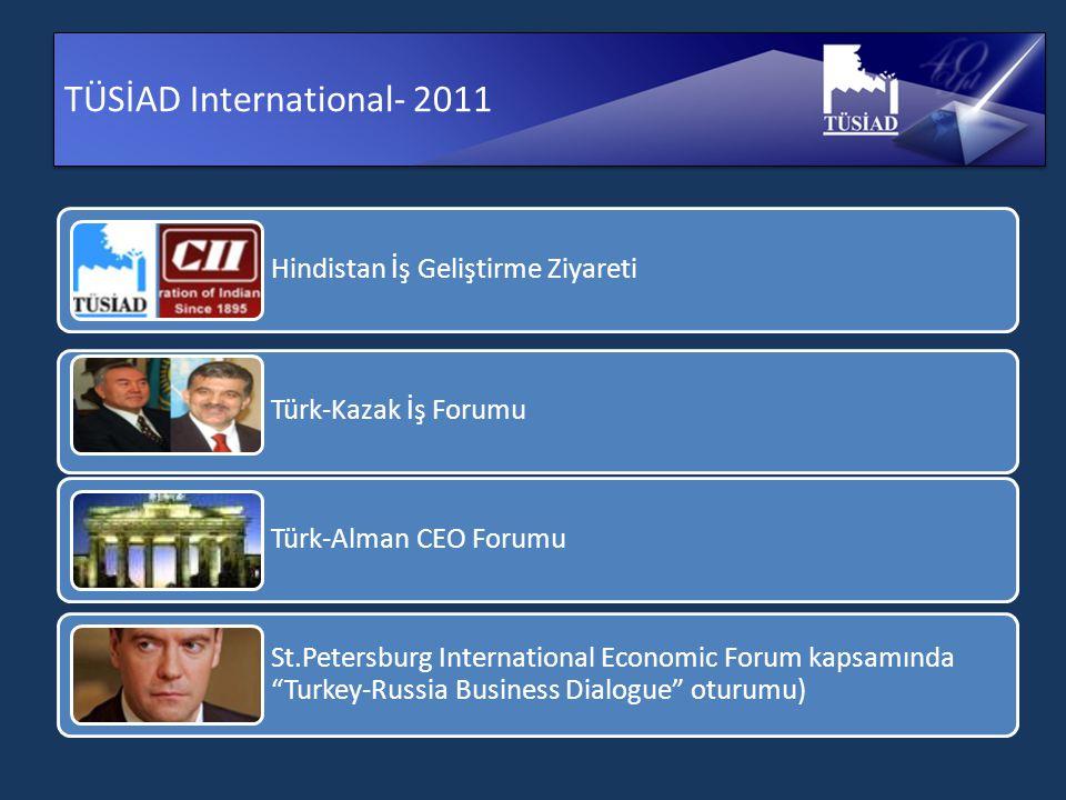 TÜSİAD International- 2011 Hindistan İş Geliştirme Ziyareti Türk-Kazak İş Forumu Türk-Alman CEO Forumu St.Petersburg International Economic Forum kapsamında Turkey-Russia Business Dialogue oturumu)
