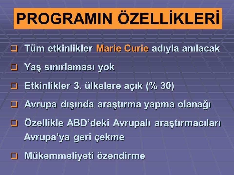  Tüm etkinlikler Marie Curie adıyla anılacak  Yaş sınırlaması yok  Etkinlikler 3. ülkelere açık (% 30)  Avrupa dışında araştırma yapma olanağı  Ö