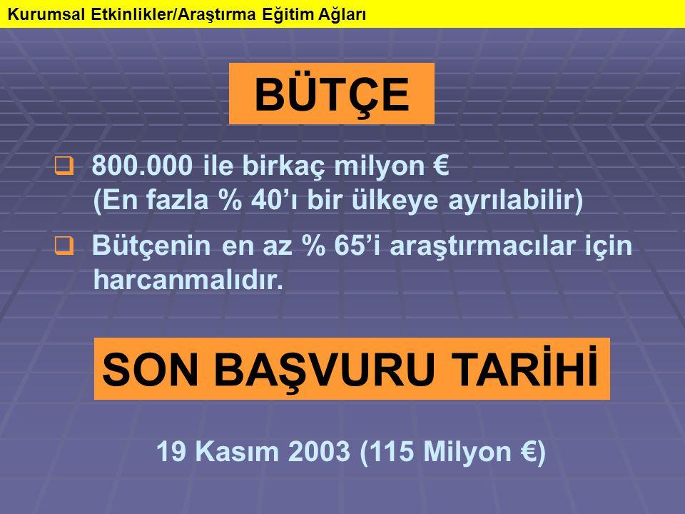 Kurumsal Etkinlikler/Araştırma Eğitim Ağları BÜTÇE  800.000 ile birkaç milyon € (En fazla % 40'ı bir ülkeye ayrılabilir)  Bütçenin en az % 65'i araş