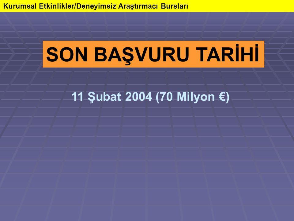 Kurumsal Etkinlikler/Deneyimsiz Araştırmacı Bursları SON BAŞVURU TARİHİ 11 Şubat 2004 (70 Milyon €)