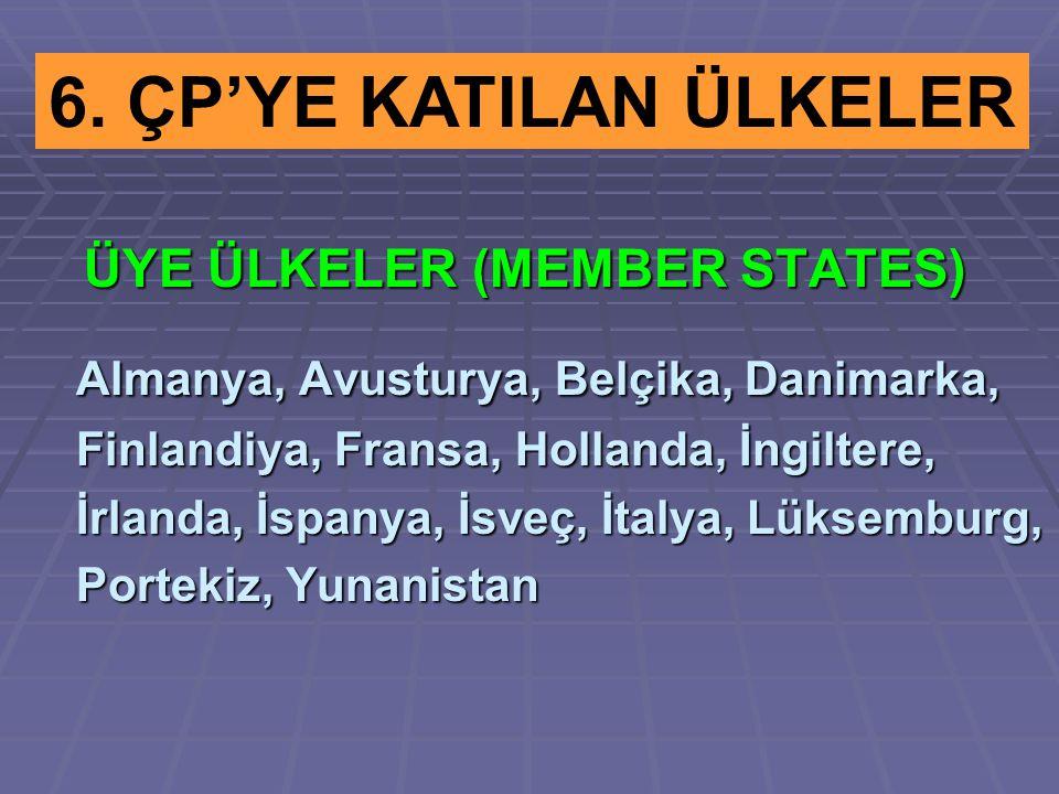 ÜYE ÜLKELER (MEMBER STATES) ÜYE ÜLKELER (MEMBER STATES) Almanya, Avusturya, Belçika, Danimarka, Almanya, Avusturya, Belçika, Danimarka, Finlandiya, Fr