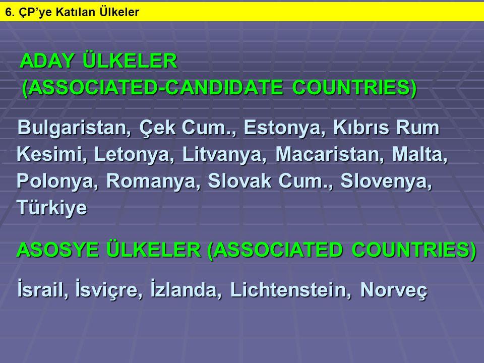 ADAY ÜLKELER ADAY ÜLKELER (ASSOCIATED-CANDIDATE COUNTRIES) (ASSOCIATED-CANDIDATE COUNTRIES) Bulgaristan, Çek Cum., Estonya, Kıbrıs Rum Bulgaristan, Çe