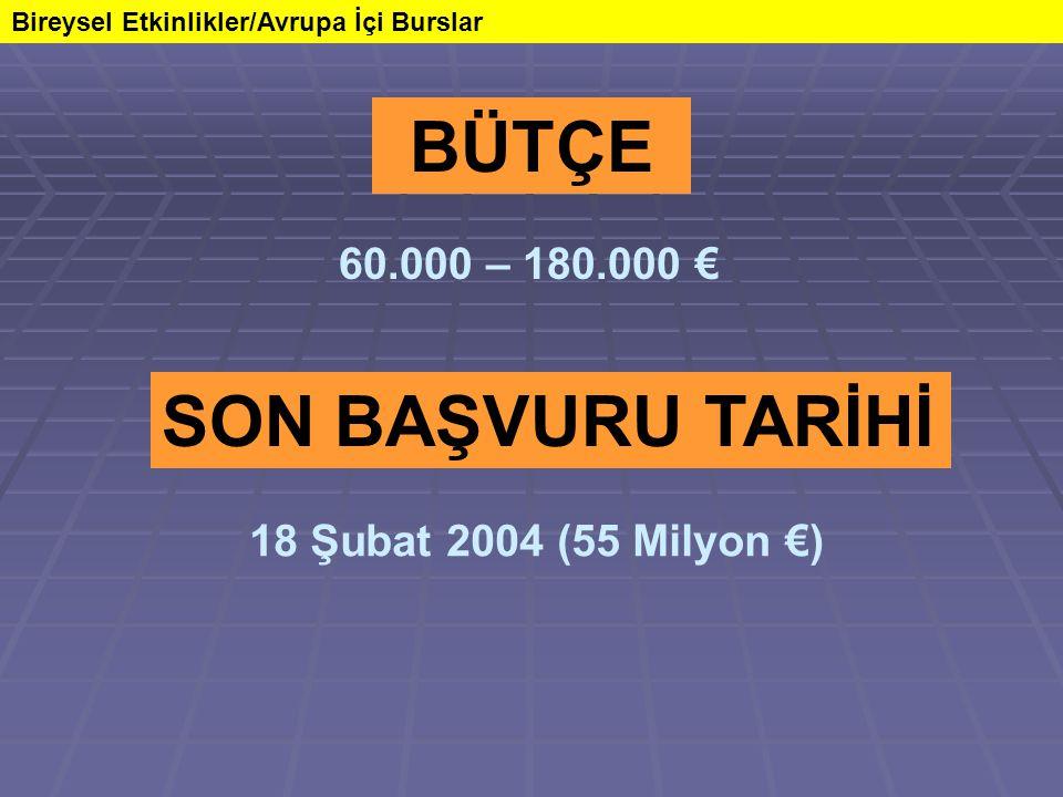 BÜTÇE Bireysel Etkinlikler/Avrupa İçi Burslar 60.000 – 180.000 € SON BAŞVURU TARİHİ 18 Şubat 2004 (55 Milyon €)