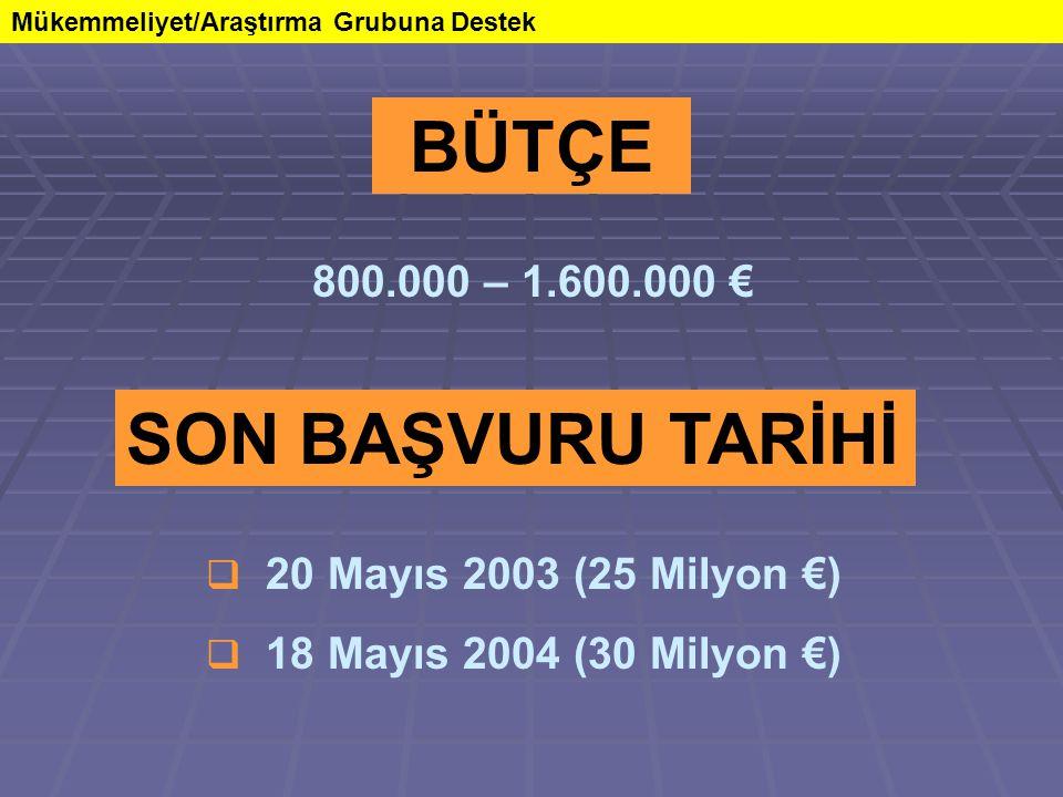 Mükemmeliyet/Araştırma Grubuna Destek SON BAŞVURU TARİHİ  20 Mayıs 2003 (25 Milyon €)  18 Mayıs 2004 (30 Milyon €) BÜTÇE 800.000 – 1.600.000 €