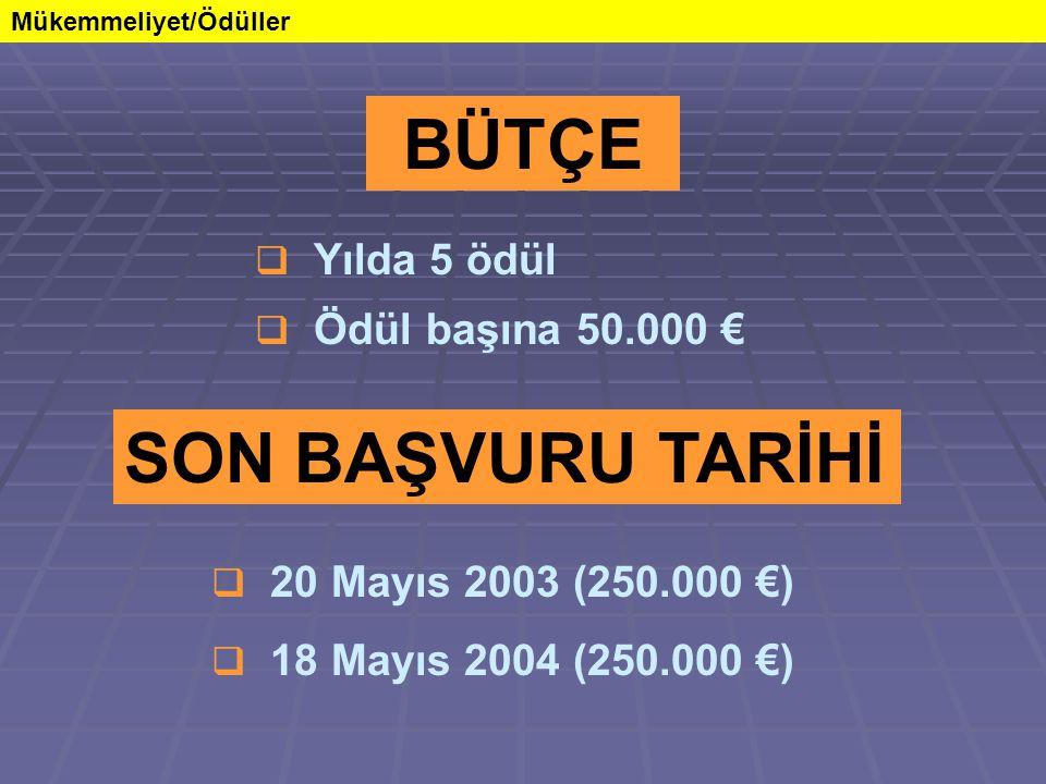 Mükemmeliyet/Ödüller SON BAŞVURU TARİHİ  20 Mayıs 2003 (250.000 €)  18 Mayıs 2004 (250.000 €) BÜTÇE  Yılda 5 ödül  Ödül başına 50.000 €