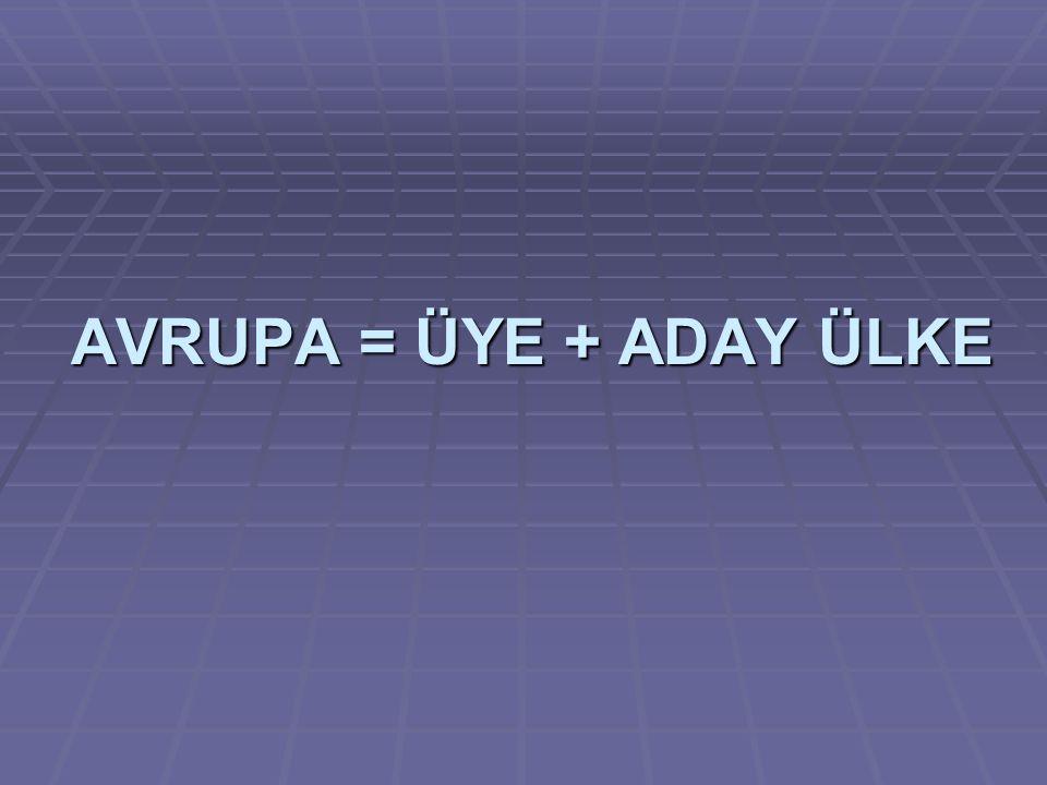 AVRUPA = ÜYE + ADAY ÜLKE