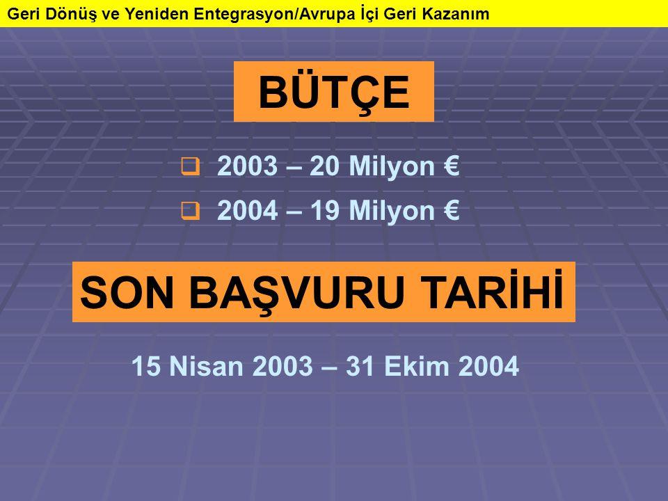 Geri Dönüş ve Yeniden Entegrasyon/Avrupa İçi Geri Kazanım SON BAŞVURU TARİHİ 15 Nisan 2003 – 31 Ekim 2004 BÜTÇE  2003 – 20 Milyon €  2004 – 19 Milyo