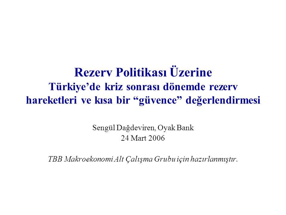 """Rezerv Politikası Üzerine Türkiye'de kriz sonrası dönemde rezerv hareketleri ve kısa bir """"güvence"""" değerlendirmesi Sengül Dağdeviren, Oyak Bank 24 Mar"""