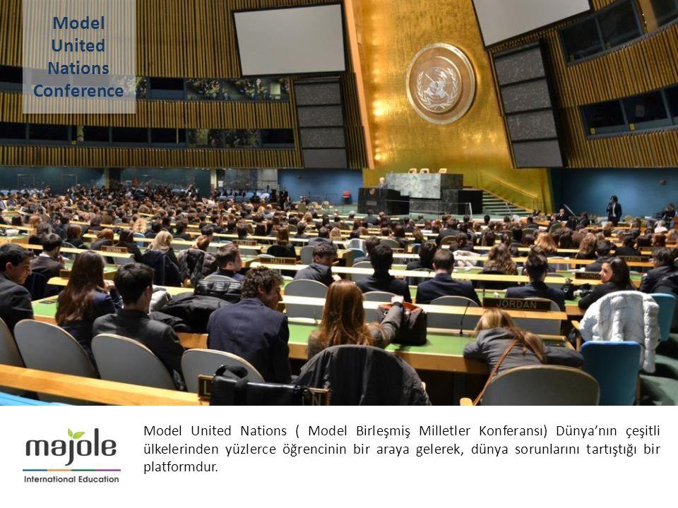 2- 10 Aralık 2012 Model United Nations ( Model Birleşmiş Milletler Konferansı) Dünya'nın çeşitli ülkelerinden yüzlerce öğrencinin bir araya gelerek, d