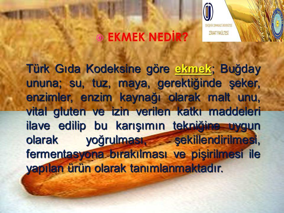  EKMEK NEDİR? Türk Gıda Kodeksine göre ekmek; Buğday ununa; su, tuz, maya, gerektiğinde şeker, enzimler, enzim kaynağı olarak malt unu, vital gluten