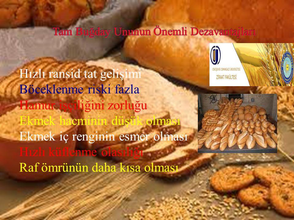 Hızlı ransid tat gelişimi Böceklenme riski fazla Hamur işçiliğini zorluğu Ekmek hacminin düşük olması Ekmek iç renginin esmer olması Hızlı küflenme ol
