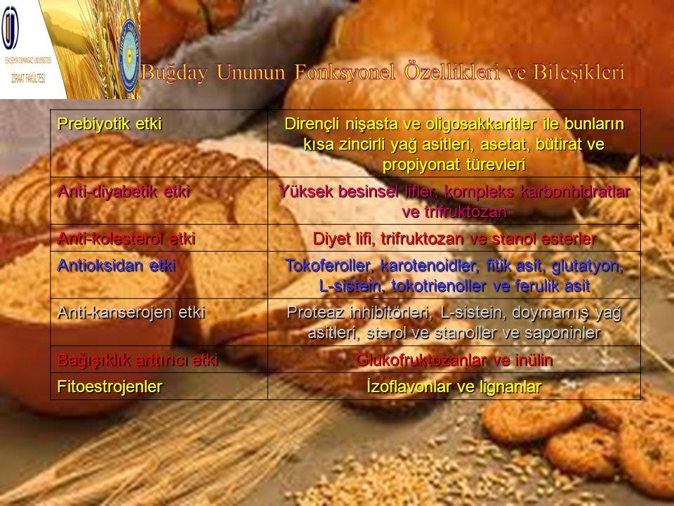 Prebiyotik etki Dirençli nişasta ve oligosakkaritler ile bunların kısa zincirli yağ asitleri, asetat, bütirat ve propiyonat türevleri Anti-diyabetik e