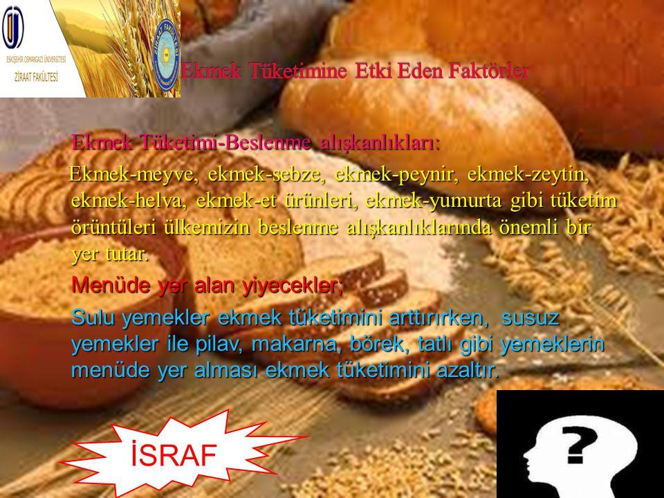 Ekmek Tüketimi-Beslenme alışkanlıkları: Ekmek-meyve, ekmek-sebze, ekmek-peynir, ekmek-zeytin, ekmek-helva, ekmek-et ürünleri, ekmek-yumurta gibi tüket