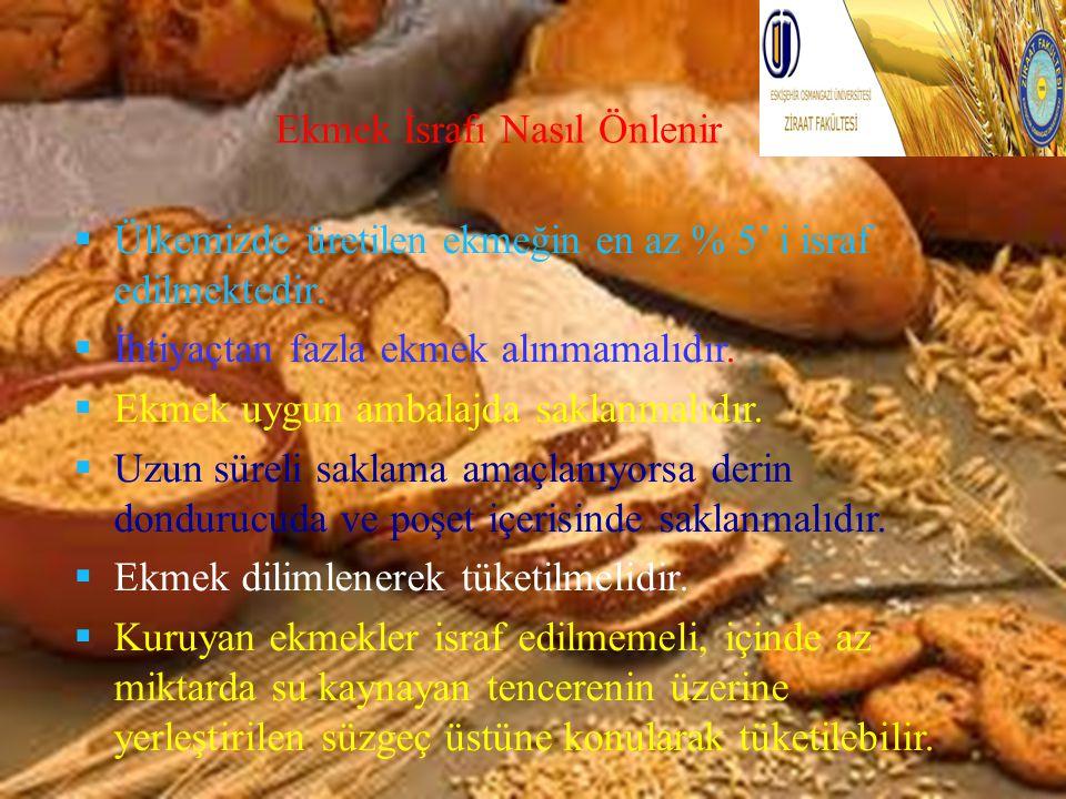 Ekmek İsrafı Nasıl Önlenir  Ülkemizde üretilen ekmeğin en az % 5' i israf edilmektedir.  İhtiyaçtan fazla ekmek alınmamalıdır.  Ekmek uygun ambalaj