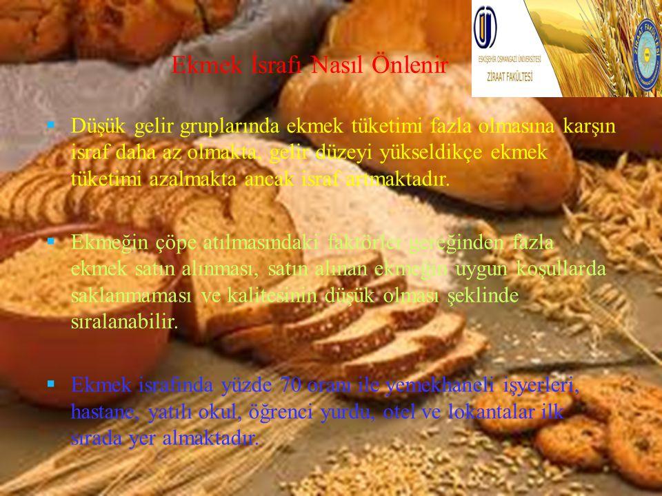 Ekmek İsrafı Nasıl Önlenir  Düşük gelir gruplarında ekmek tüketimi fazla olmasına karşın israf daha az olmakta, gelir düzeyi yükseldikçe ekmek tüketi