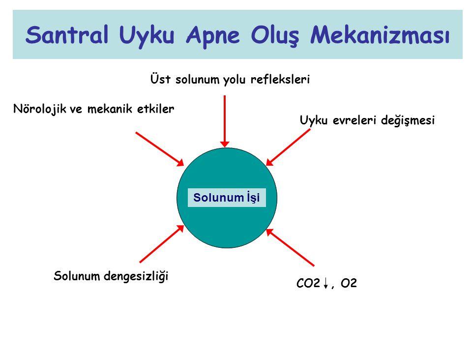 Santral Uyku Apne Oluş Mekanizması Solunum İşi Üst solunum yolu refleksleri Nörolojik ve mekanik etkiler Uyku evreleri değişmesi CO2, O2 Solunum denge