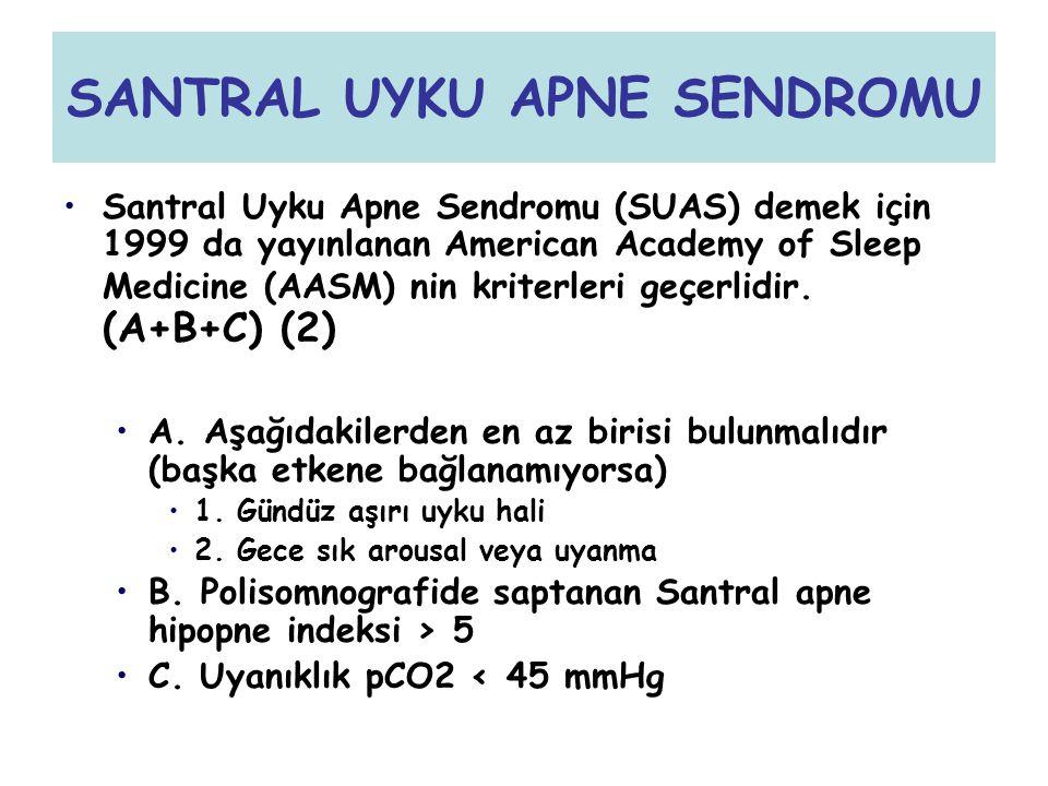 SANTRAL UYKU APNE SENDROMU Santral Uyku Apne Sendromu (SUAS) demek için 1999 da yayınlanan American Academy of Sleep Medicine (AASM) nin kriterleri ge