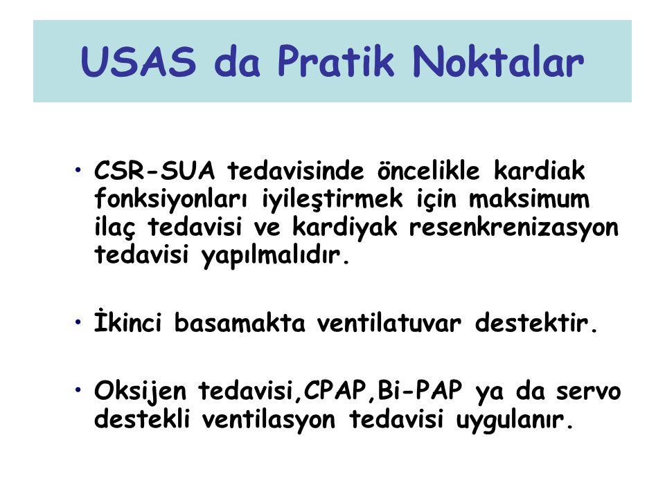 USAS da Pratik Noktalar CSR-SUA tedavisinde öncelikle kardiak fonksiyonları iyileştirmek için maksimum ilaç tedavisi ve kardiyak resenkrenizasyon teda