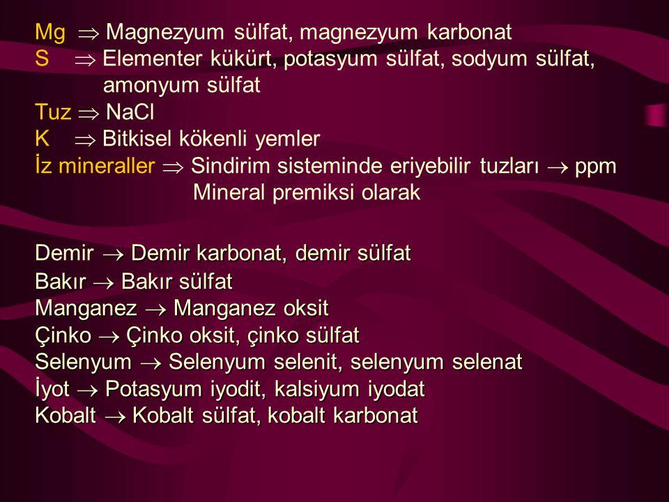 Mg  Magnezyum sülfat, magnezyum karbonat S  Elementer kükürt, potasyum sülfat, sodyum sülfat, amonyum sülfat Tuz  NaCl K  Bitkisel kökenli yemler