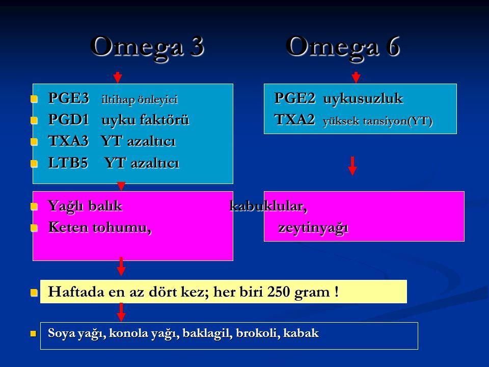 Omega 3Omega 6 PGE3 iltihap önleyici PGE2uykusuzluk PGE3 iltihap önleyici PGE2uykusuzluk PGD1 uyku faktörüTXA2 yüksek tansiyon(YT) PGD1 uyku faktörüTX