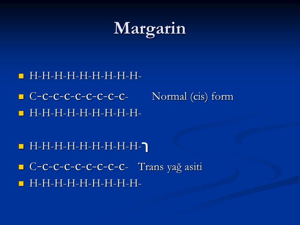Margarin H-H-H-H-H-H-H-H-H- H-H-H-H-H-H-H-H-H- C - c-c-c-c-c-c-c-c - Normal (cis) form C - c-c-c-c-c-c-c-c - Normal (cis) form H-H-H-H-H-H-H-H-H- H-H-