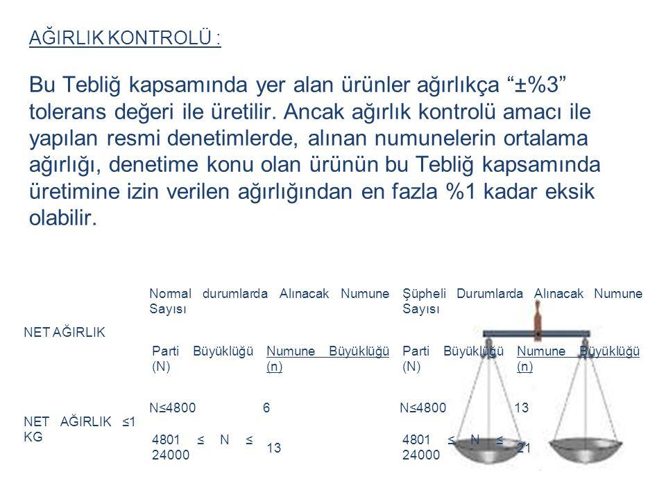 """AĞIRLIK KONTROLÜ : Bu Tebliğ kapsamında yer alan ürünler ağırlıkça """"±%3"""" tolerans değeri ile üretilir. Ancak ağırlık kontrolü amacı ile yapılan resmi"""