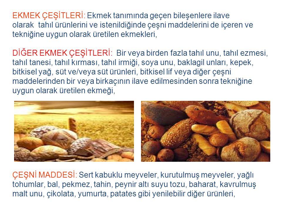EKMEK ÇEŞİTLERİ: Ekmek tanımında geçen bileşenlere ilave olarak tahıl ürünlerini ve istenildiğinde çeşni maddelerini de içeren ve tekniğine uygun olar