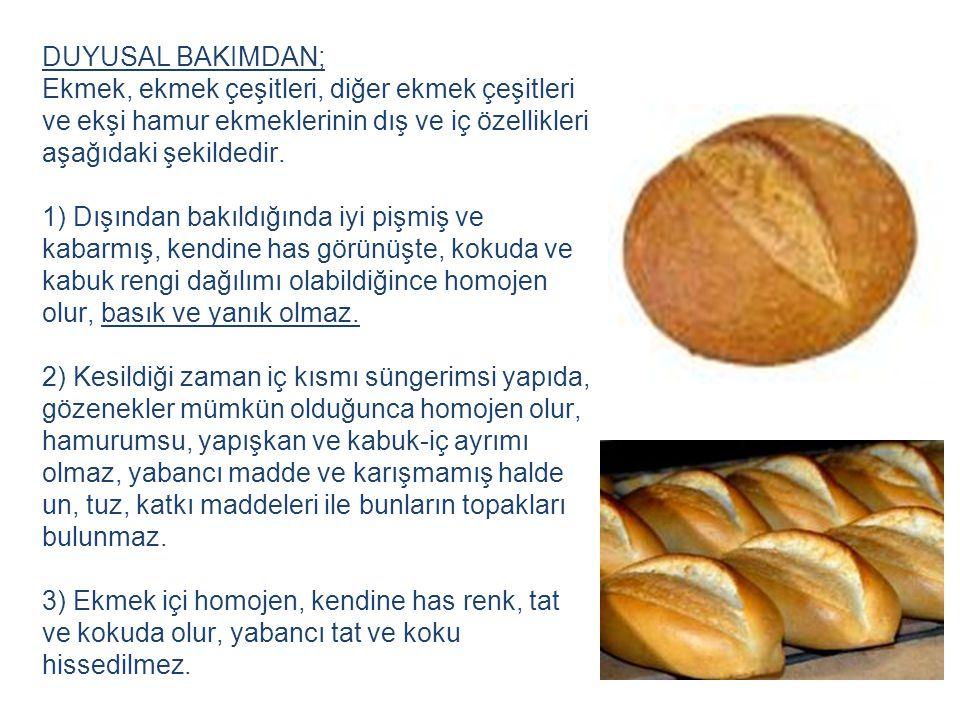 DUYUSAL BAKIMDAN; Ekmek, ekmek çeşitleri, diğer ekmek çeşitleri ve ekşi hamur ekmeklerinin dış ve iç özellikleri aşağıdaki şekildedir. 1) Dışından bak