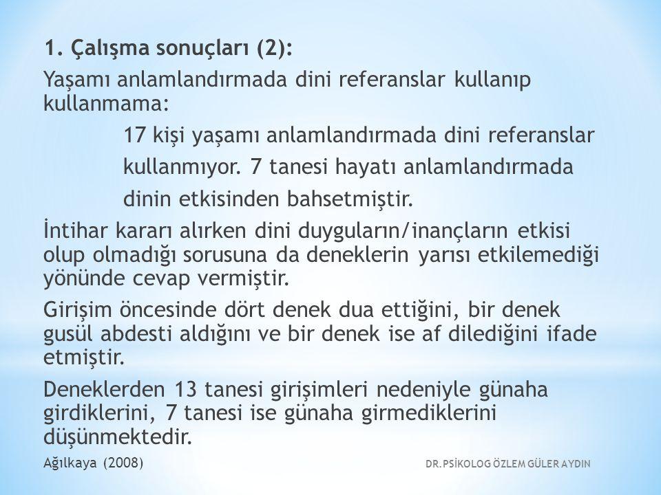 1. Çalışma sonuçları (2): Yaşamı anlamlandırmada dini referanslar kullanıp kullanmama: 17 kişi yaşamı anlamlandırmada dini referanslar kullanmıyor. 7