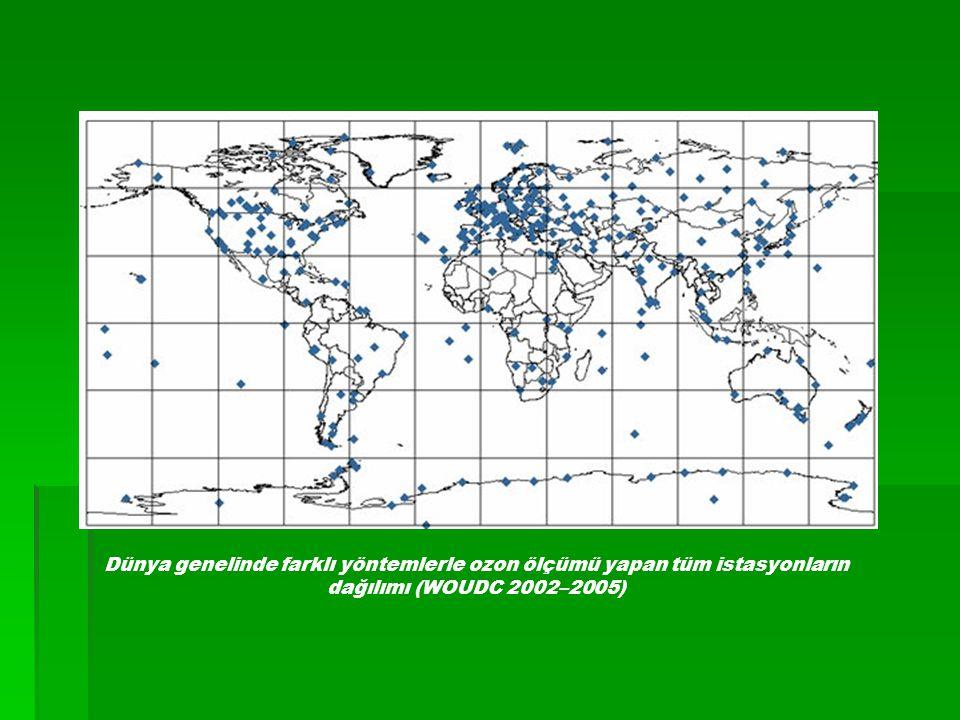 Dünya genelinde farklı yöntemlerle ozon ölçümü yapan tüm istasyonların dağılımı (WOUDC 2002–2005)