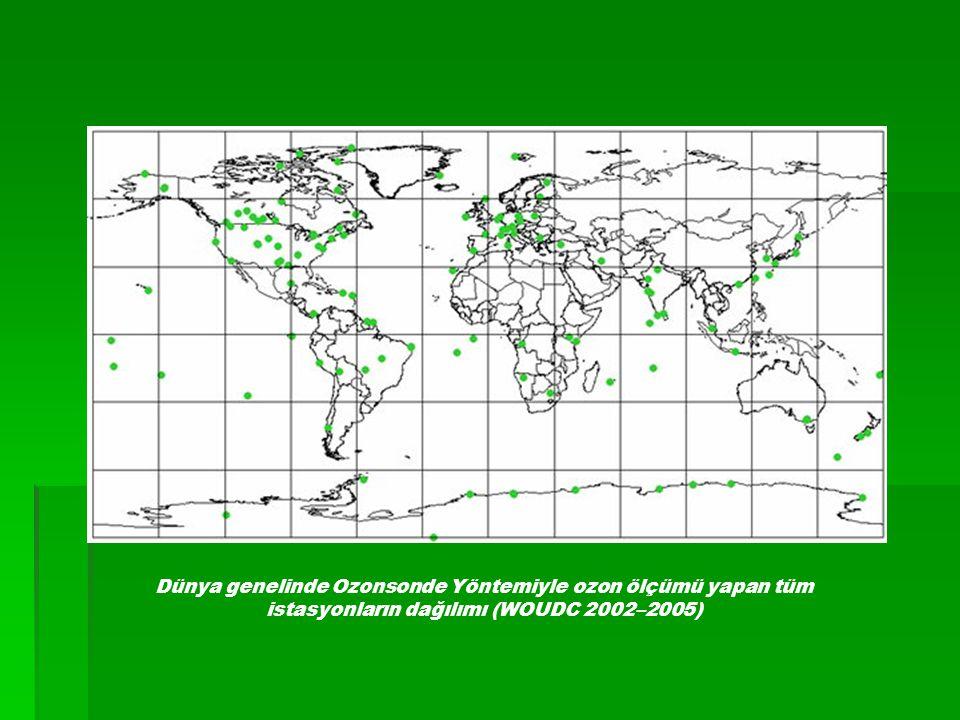 Dünya genelinde Ozonsonde Yöntemiyle ozon ölçümü yapan tüm istasyonların dağılımı (WOUDC 2002–2005)