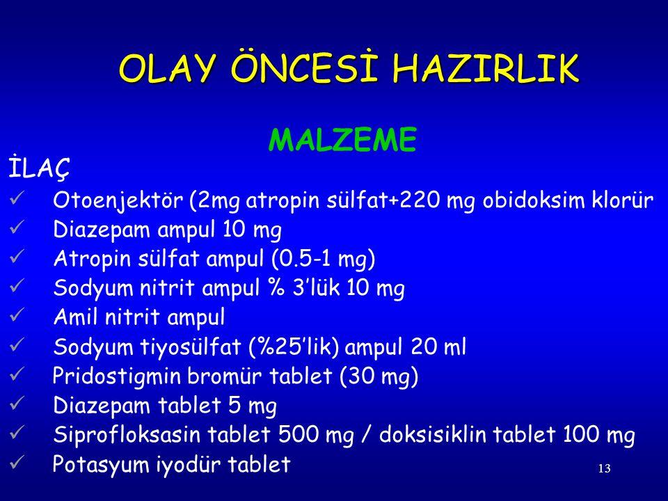 13 İLAÇ Otoenjektör (2mg atropin sülfat+220 mg obidoksim klorür Diazepam ampul 10 mg Atropin sülfat ampul (0.5-1 mg) Sodyum nitrit ampul % 3'lük 10 mg