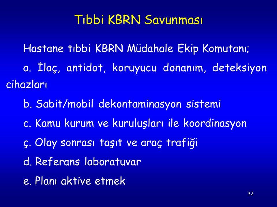 32 Hastane tıbbi KBRN Müdahale Ekip Komutanı; a. İlaç, antidot, koruyucu donanım, deteksiyon cihazları b. Sabit/mobil dekontaminasyon sistemi c. Kamu
