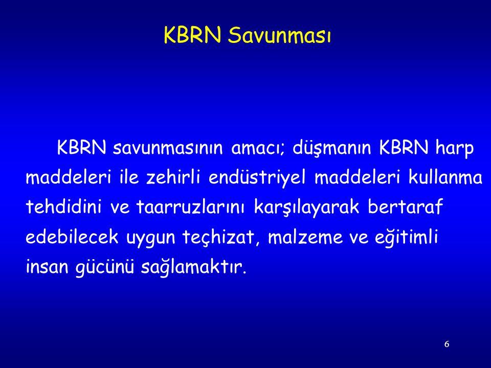 6 KBRN savunmasının amacı; düşmanın KBRN harp maddeleri ile zehirli endüstriyel maddeleri kullanma tehdidini ve taarruzlarını karşılayarak bertaraf ed