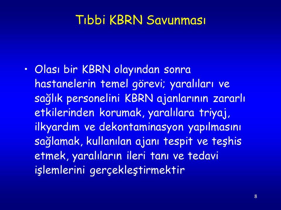 8 Olası bir KBRN olayından sonra hastanelerin temel görevi; yaralıları ve sağlık personelini KBRN ajanlarının zararlı etkilerinden korumak, yaralılara