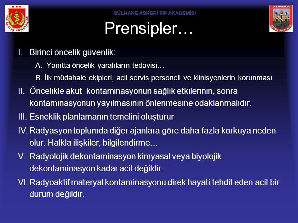 Prensipler… I.Birinci öncelik güvenlik: A.