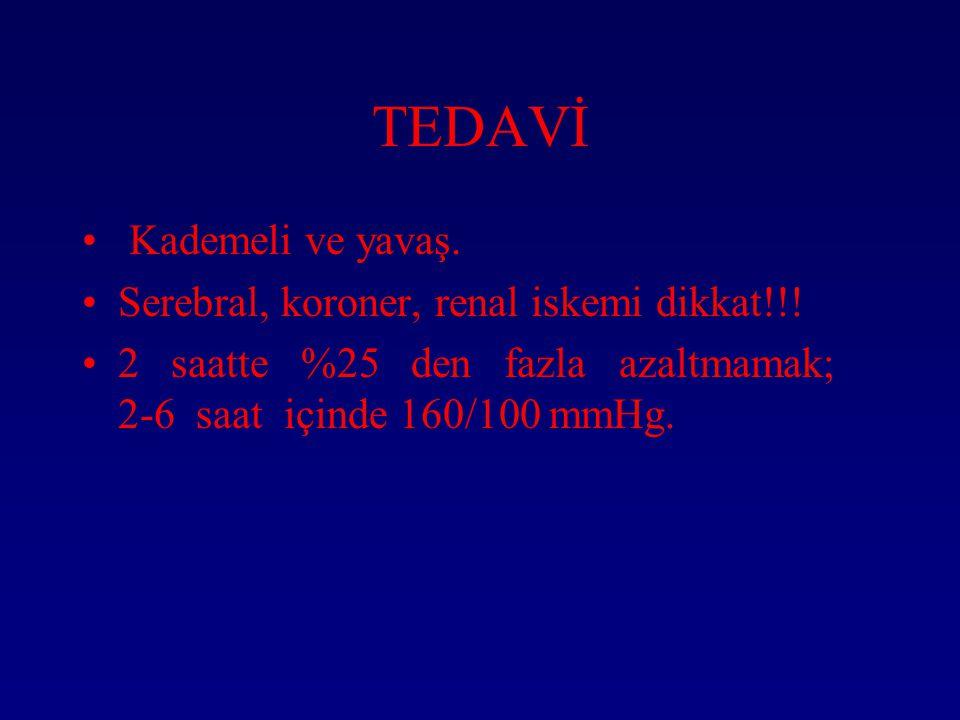 TEDAVİ Kademeli ve yavaş.Serebral, koroner, renal iskemi dikkat!!.