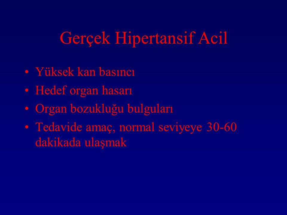 Gerçek Hipertansif Acil Yüksek kan basıncı Hedef organ hasarı Organ bozukluğu bulguları Tedavide amaç, normal seviyeye 30-60 dakikada ulaşmak