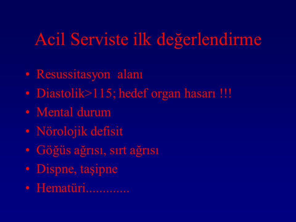 Acil Serviste ilk değerlendirme Resussitasyon alanı Diastolik>115; hedef organ hasarı !!.
