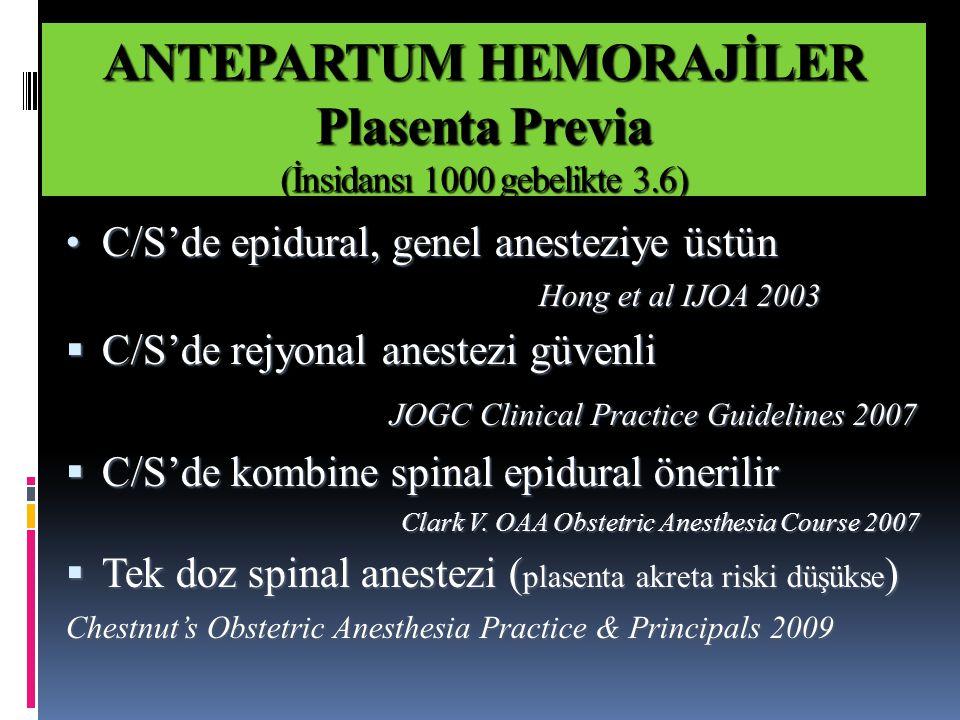 ANTEPARTUM HEMORAJİLER Plasenta Previa (İnsidansı 1000 gebelikte 3.6) C/S'de epidural, genel anesteziye üstün C/S'de epidural, genel anesteziye üstün Hong et al IJOA 2003  C/S'de rejyonal anestezi güvenli JOGC Clinical Practice Guidelines 2007  C/S'de kombine spinal epidural önerilir Clark V.