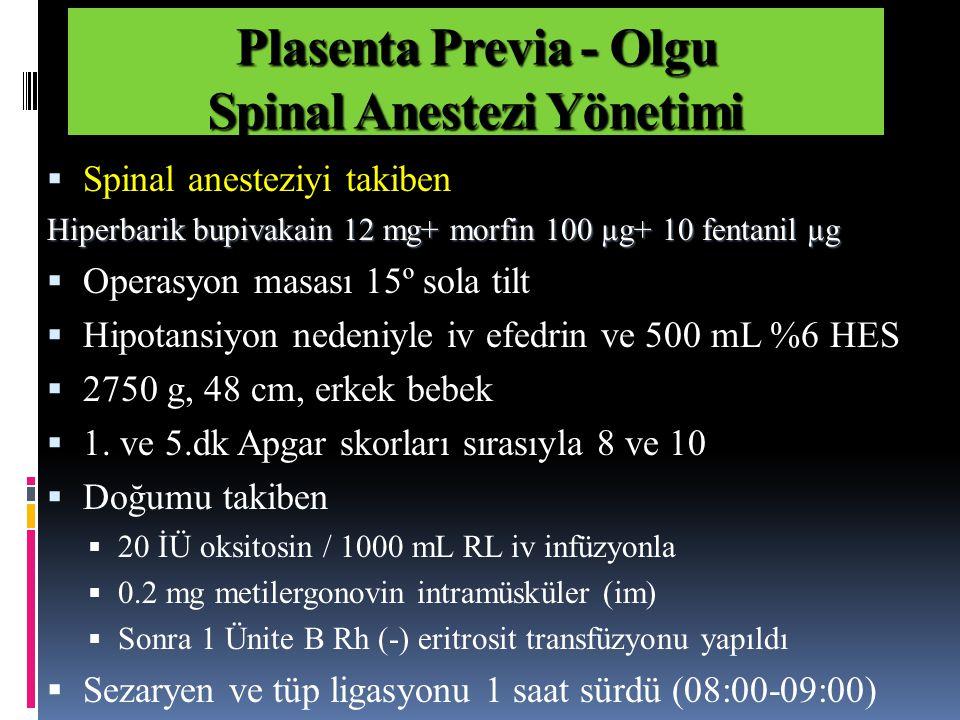  Spinal anesteziyi takiben Hiperbarik bupivakain 12 mg+ morfin 100 µg+ 10 fentanil µg  Operasyon masası 15º sola tilt  Hipotansiyon nedeniyle iv efedrin ve 500 mL %6 HES  2750 g, 48 cm, erkek bebek  1.