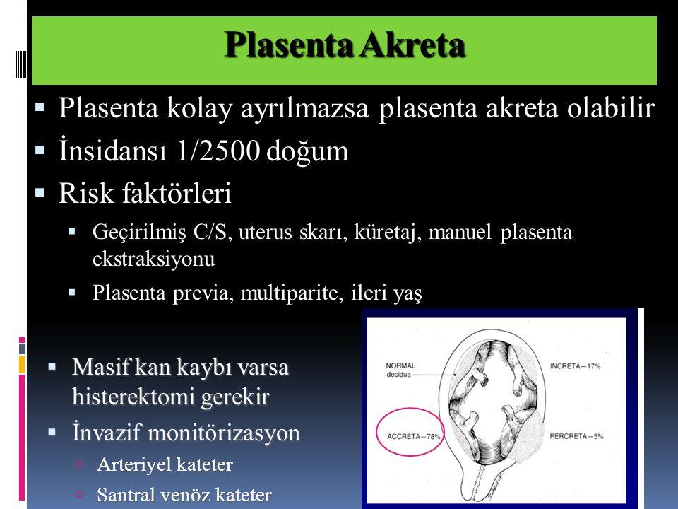  Masif kan kaybı varsa histerektomi gerekir  İnvazif monitörizasyon  Arteriyel kateter  Santral venöz kateter Plasenta Akreta  Plasenta kolay ayrılmazsa plasenta akreta olabilir  İnsidansı 1/2500 doğum  Risk faktörleri  Geçirilmiş C/S, uterus skarı, küretaj, manuel plasenta ekstraksiyonu  Plasenta previa, multiparite, ileri yaş