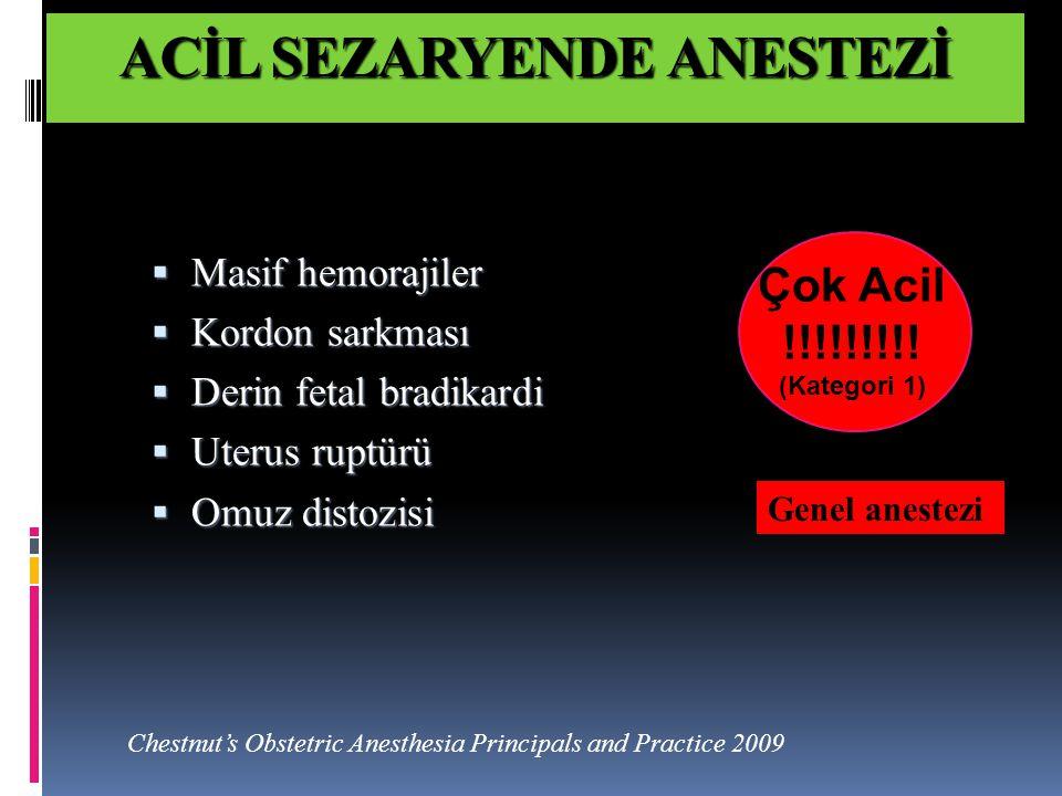 Masif obstetrik hemorajiler fatal seyreder  En sık nedeni uterus atonisi  Farmakolojik tedavi oksitosin, ergometrin ve PG'ler  Tamponad teknikleri, girişimsel radyoloji düşünülür  Cerrahi sütürler başarılı olmazsa HİSTEREKTOMİ SONUÇ Anestezi tekniği olarak  obstetrik acillerde rejyonal anestezi ile başlansa bile her an genel anesteziye geçilebilir  İyi ve tam bir hazırlık, obstetrik acillerin rejyonal anestezi yönetiminde temeldir.