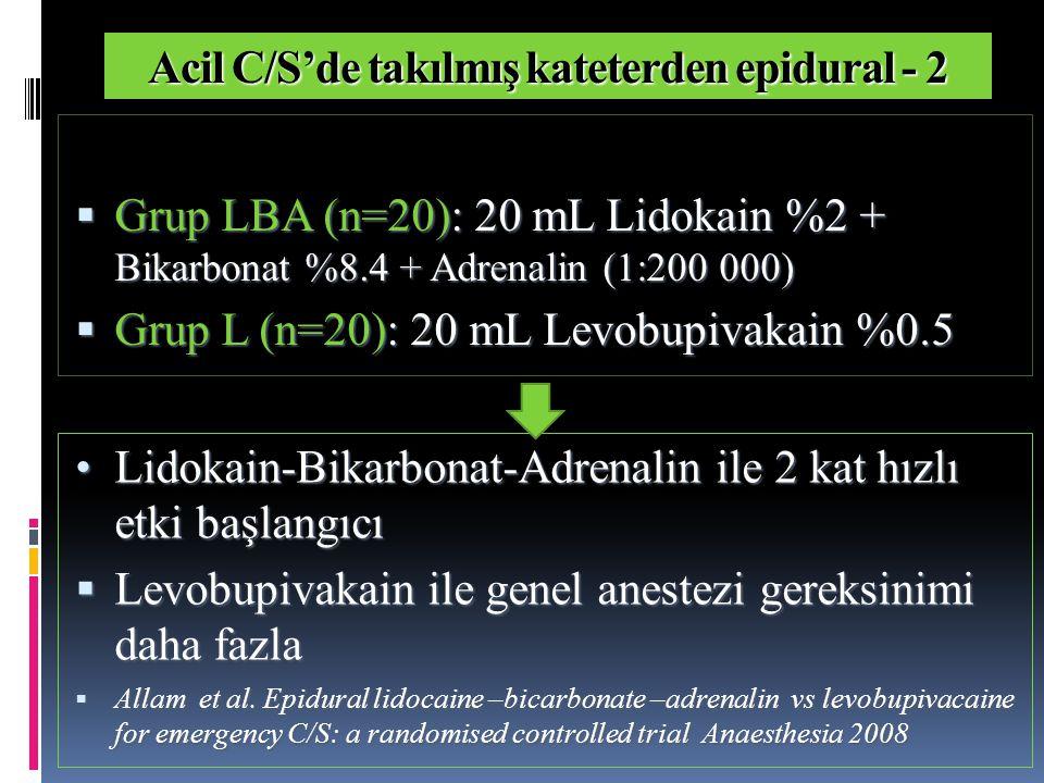 Acil C/S'de takılmış kateterden epidural - 3  Grup LAF (n=50): Lidokain %2 + A drenalin 100 µg + Fentanil 100 µg ( toplam volüm 22.1 mL )  Grup L (n=50): 20 mL Levobupivakain %0.5  Levobupivakain ile T7'de blok için ek lokal anestezik gereksinimi daha fazla (p=0.02)  İlaç hazırlama zamanı LAF'de daha uzun (p<0.001)  T7'de blok zamanı LAF ile daha kısa (p<0.001)  Balaji et al.