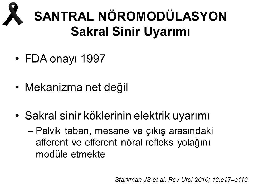 SANTRAL NÖROMODÜLASYON Sakral Sinir Uyarımı FDA onayı 1997 Mekanizma net değil Sakral sinir köklerinin elektrik uyarımı –Pelvik taban, mesane ve çıkış arasındaki afferent ve efferent nöral refleks yolağını modüle etmekte Starkman JS et al.